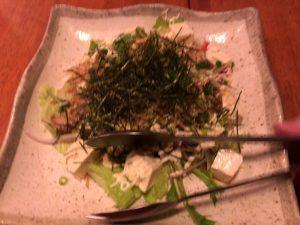 花いちぜん 島豆腐とカリカリしらすの和風サラダ