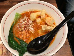 小エビ天ぷらカレー担々麺 有楽町の四条富小路 麺屋虎