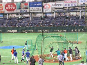 日米野球2018の練習風景2