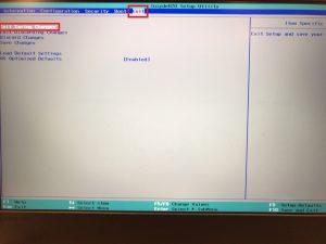 レノボのファンクションキー設定の切り替え方法 その2 BIOS exit画面